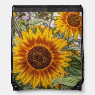 Sunflowers in field rucksack