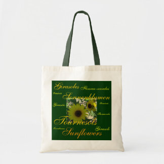"""""""Sunflowers"""" in Many Languages Budget Tote Bag"""