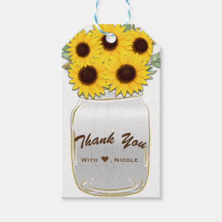Sunflowers in Mason Jar Rustic Chic Country Favor Gift Tags