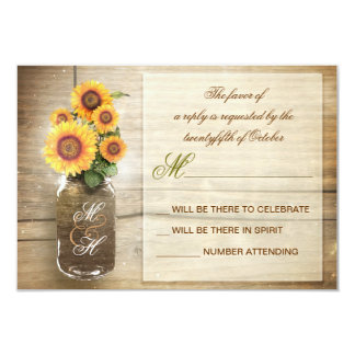 sunflowers in mason jar vintage wedding RSVP cards 9 Cm X 13 Cm Invitation Card
