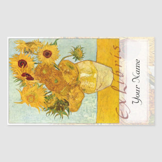 "Sunflowers Large Book Plate ""Ex Libris"" Rectangular Sticker"
