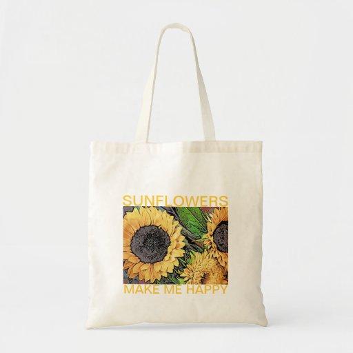 Sunflowers Make Me Happy Tote Bag