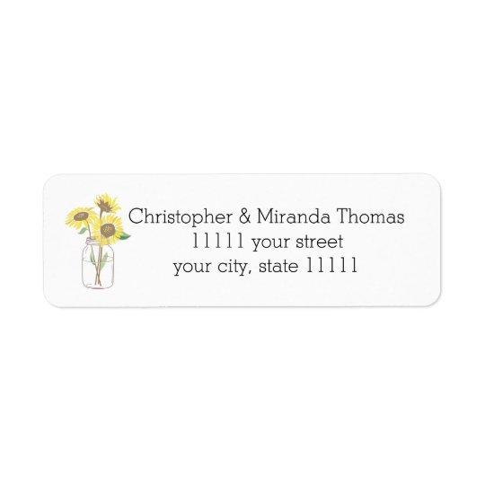 Sunflowers Mason Jar Return Address Label
