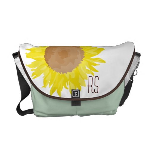 Sunflowers monogrammed courier bags