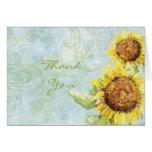 Sunflowers 'n Swirls, Wedding Thank You Note Cards
