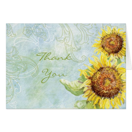 Sunflowers 'n Swirls, Wedding Thank You Note Cards