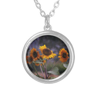 Sunflowers on display silver plated necklace