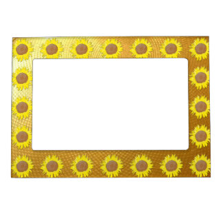 Sunflowers on gold magnetic picture frame