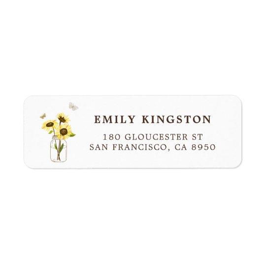 Sunflowers on Mason Jar Whimsical Address Label