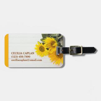 Sunflowers on Rustic Wood Luggage Tag
