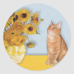 Sunflowers - Orange Tabby cat 46 Round Sticker