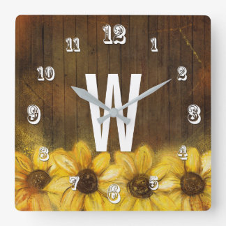 Sunflowers Painted on Wood | Monogram Square Wall Clock