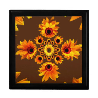Sunflowers Pattern Coffee Brown Design Large Square Gift Box