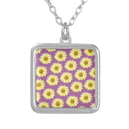 Sunflowers Pattern On Purple Silver Plated Necklace