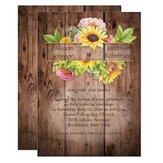 Sunflowers Peonies Greenery Barnwood Wedding   Card