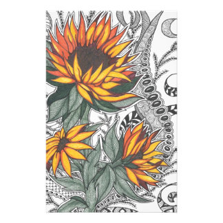 sunflowers personalized stationery