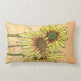 Sunflowers Pilows,  Copyright Karen J Williams Lumbar Cushion