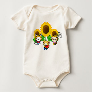Sunflowers - Rabbit, Bear, Pig Baby Bodysuit