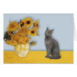 Sunflowers - Russian Blue cat Greeting Card