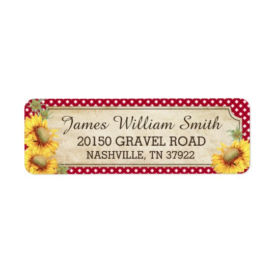 Sunflowers Rustic Country Picnic Wedding Label Return Address Label