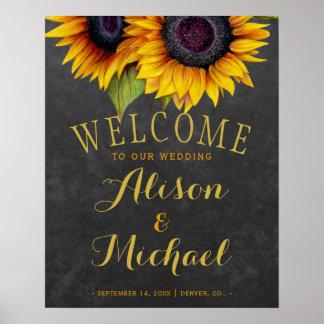 Sunflowers rustic elegan fall wedding welcome sign