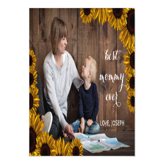 Sunflowers Rustic Mothers Day Photo Card