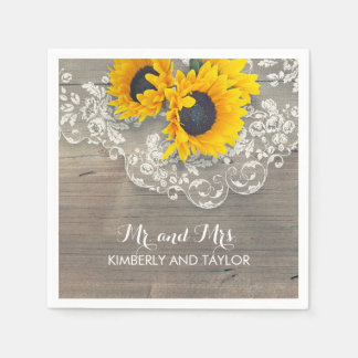 Sunflowers Rustic Wood Lace Country Wedding Disposable Napkins