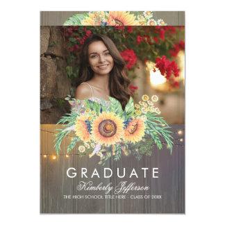 Sunflowers Rustic Wood Photo Graduation Card
