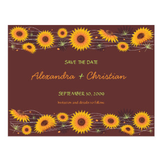 Sunflowers Save the Date Wedding Announcement 2 Postcard