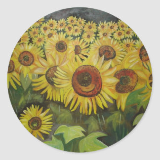 Sunflowers Round Stickers