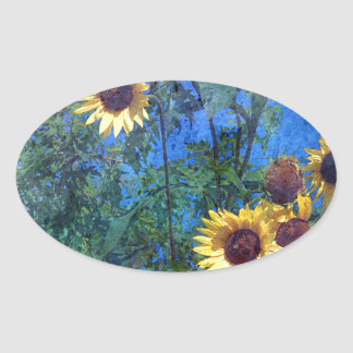 Sunflowers Oval Stickers