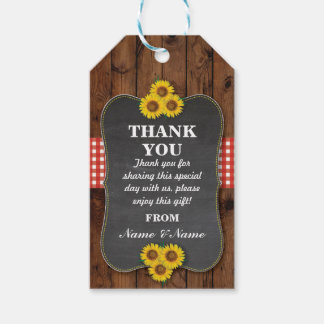 Sunflowers Thank you Tag Favour Wood Wedding