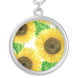 Sunflowers watercolor silver plated necklace