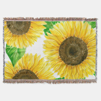 Sunflowers watercolor throw blanket