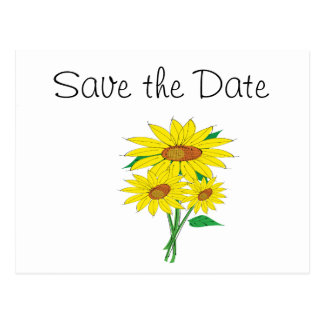 Sunflowers Wedding Day Theme Save the Date Postcard