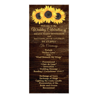 Sunflowers Wedding Program on Wood Country Floral Rack Card