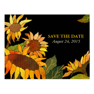 Sunflowers: Wedding Save the Date Postcards