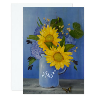 Sunflowers Wedding watercolor floral RSVP Card
