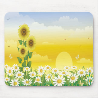 Sunflowers, White Flowers, Sun , Mouse Pad