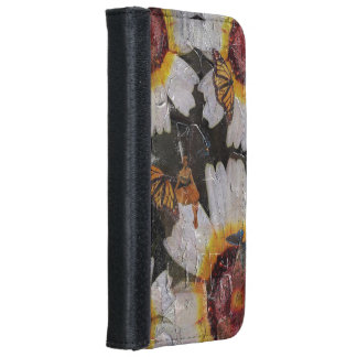 Sunflowers Woman Butterfly Grunge iPhone 6 Wallet Case