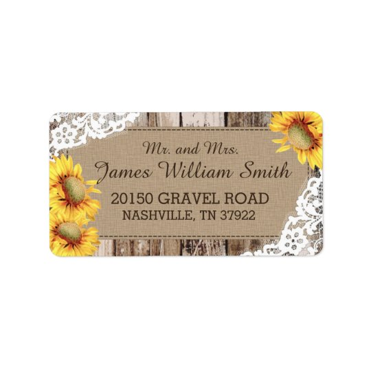 Sunflowers Wood and Lace Rustic Wedding Label
