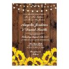 Sunflowers Wood Wedding Rustic Floral Light Invite