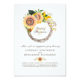 Sunflowers Wreath Rustic Fall Engagement Party Card