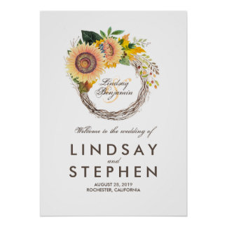Sunflowers Wreath Wedding Welcome Sign
