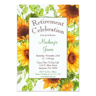Sunflowers Yellow Floral Retirement Invitation