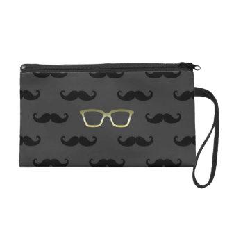 Sunglasses and Moustache Wristlet Clutch