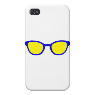 Sunglasses Blue Rim Yellow Lens The MUSEUM Zazzle Cover For iPhone 4