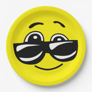 Sunglasses Cool Smiley Face Funny Emoticon Party 9 Inch Paper Plate