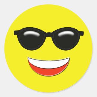 Sunglasses Emoji Classic Round Sticker