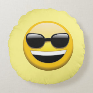 Sunglasses Emoji Round Throw Pillow